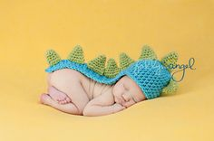 Custom Crochet Long Tail Dinosaur Baby Beanie by CricketCreations, $26.00