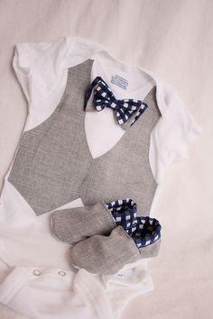 Baby boy shirt, bow tie shirt, Baby boy photo prop, Blue and gray baby boy shirt via Etsy