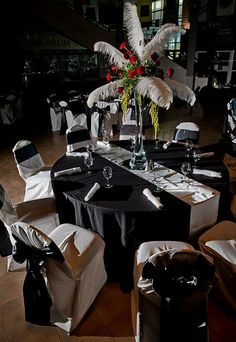 Black, red and white tuxedo, flower centerpieces