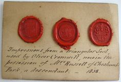 RARE ANTIQUE Wax Seal Impressions Oliver Cromwell's Seal ~Dated 1838 ~Provenance