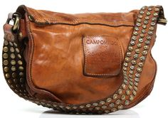 Brown leather bag with studs