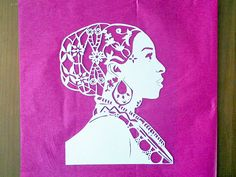 White Paper Cut Royal Queen Art by WashingtonCuts on Etsy