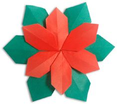 Origami Ideas│Origami Christmas Poinsettia - paper folding with instructions