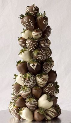 chocolate covered strawberry tower.
