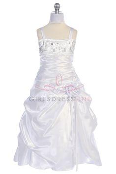 White Shiny Satin Pick-up Style Overlayed Fancy A-line Long Flower Girl Dress with Sparkles Q2105-WH $59.95 on www.GirlsDressLine.Com