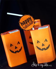 Free printable Pumpkin Face Juice box covers from Skip to my Lou. org  #halloweenprintable #halloweenparties #halloweenideas #skiptomylou