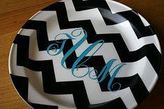 diy monogram plate