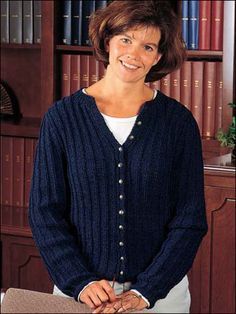 Looking for an easy, cardigan knitting pattern? This free knitting pattern is perfect! It's a great sweater to wear to the office or to pair with your favorite jeans for a more casual look. This free cardigan knitting pattern includes Woman's size: petite to large. You'll use DK weight yarn and size 4 and 6 knitting needles to complete it.Skill Level: Easy