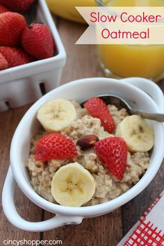 Slow Cooker Steel Cut Oatmeal. Great to toss in slow cooker at night and have a hot breakfast in the morning.