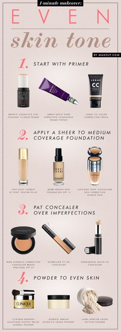 step-by-step how to even out your skin tone {this is a must pin for sure!}-----Tip: The Maybelline Concealer is equally comparable to Make Up Forever's Concealer.