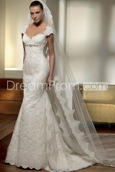 Gorgeous Trumpet/Mermaid Sweetheart Capped-Sleeve Appliques Wedding Dresses