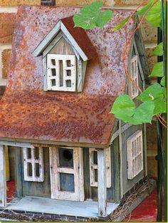 rusty roof birdhouse