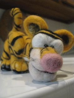 Amazing Felted Tigger pincushion, friend