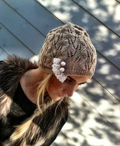 Taupe Lacy Beanie Hat Women's Cute Lace Knitted by ThreeBirdNest, $28.00
