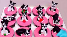 thing doggi, terriers, anim, stuff, boston terrier cupcakes, birthday idea, cake decor, bostonterri cupcak, yummi food