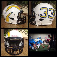 Check out the football helmet decals we created for the Irvine Chargers Youth Football team this season.  Look great, play great!  #FootballHelmetDecals #FootballDecals #CustomFootballHelmetDecals #CustomHelmetDecals #HelmetDecals #HelmetSwag #UniSwag #HealyAwards
