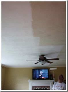 How to Brighten a Room  when painting ceilings, always use a thinner napped roller, fluffy causes splattering of paint.