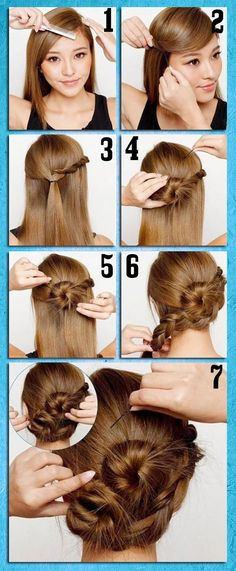 Super Cute and Easy Hair Tutorial I like the bang part, particularly.