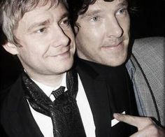 """Martin Freeman & Benedict Cumberbatch """"Benedict and I do have this chemistry on-set, you know, that doesn't even particularly have anything to do with good acting - even though, obviously, he's a brilliant actor - but there's something more personal about it, you know, it's like love… Oh God, why did I phrase it that way?"""""""