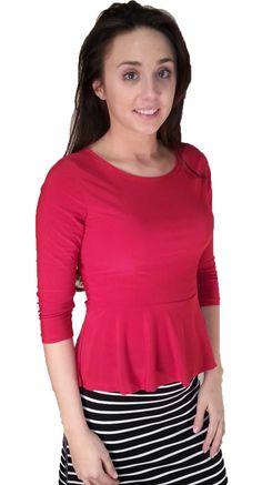 Polyester Peplum Top - Red - $22.00 :: DCM Apparel - Modern Modest Clothing