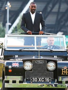 Nice ride! Idris Elba makes a grand entrance to Prince Harry's Invictus Games Wednesday at Queen Elizabeth Olympic Park in London.