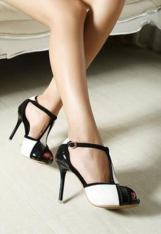 White n Black High heeled Shoes #heels #high heel shoes