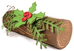 Not quite a buche de noel, this Yule Log isn't edible because it's all paper! Wood grain overlay video tutorial and WPC cutting files for Pazzles Craft Room members.