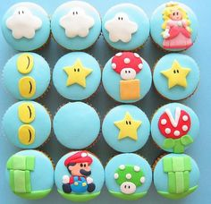 mario cupcakes. Morgen would love these for his birthday!