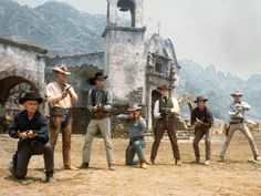 The Magnificent Seven (Yul Bryner, Steve McQueen, Charles Bronson, Robert Vaughn, Brad Dexter, James Coburn and Horst Buchholz)