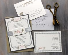 Art Deco Love - Wedding Invitation, Gray, Pink, Gold, Old Hollywood Glam - Purchase to Start the Ordering Process.