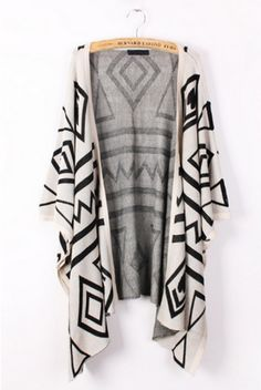 The cardigan featuring geometry graphic. Batwing sleeve. Side slits. Draped design. Open front, no button. Knit. Unlined.Wear cardigans for women with a pair of classic skinny jeans and a simple jeans. Add some shoe boots to complete a day look that'll never go out of style. Cardigan sweaters wil...