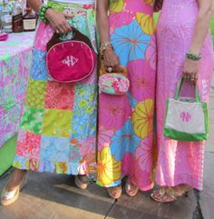 Lilly Pulitzer bright floral Maxi Dresses and preppy monograms