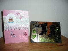 Birthday Cards  Cricut's Chrismal Noel Cartridge used for Boots from Ice Skate design.