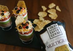 Layered dip with Food Should Taste Good chips, easy entertaining appetizer!