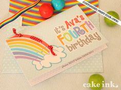 birthday party invitations, birthday parties, birthdays, rainbow invit, birthday idea, birthday invitations, rainbow parti, rainbow birthday, parti idea