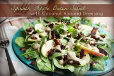 Spinach Apple Bacon Salad with Coconut Almond Dressing, from Food Renegade! Amazing.F