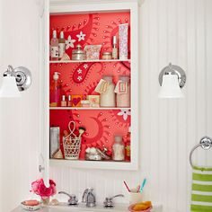 From Lowes Creative Ideas... surprise painted design inside the medicine cabinet. This could work for any cabinet! Downloadable stencils on their site.