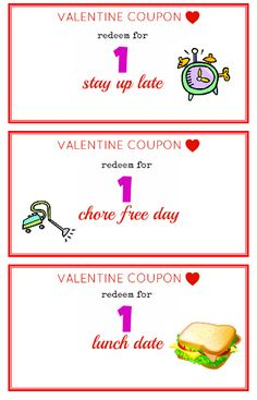 FREE Printable Valentine Coupons from The Peaceful Mom!