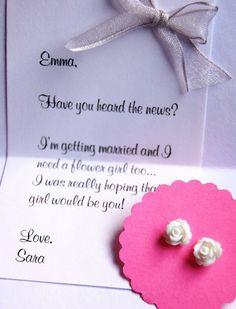 Tiny Flower Girl Earrings, Girls Jewelry Gift set, Rosebud earrings, stud earrings, will you be my flower girl gift set. $9.00, via Etsy.