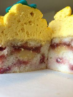 Strawberry Lemonade Cupcake with Fresh Strawberries and Lemon Curd FIlling