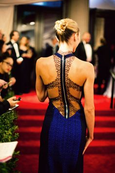 Blue and black backless gown with lace detail