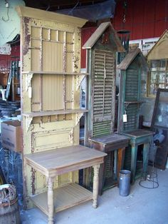 """upcycled doors and shutter potting benches"""