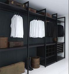 dream closets, closet designs, man closet, bedroom closets, matte black