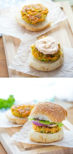 Moroccan Chickpea Sliders with Spicy Harissa Mayo and Mint | sweetpeasandsaffron.com