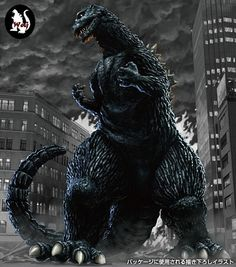 Model kit artwork depicting the King of the Monsters in GODZILLA (1954).