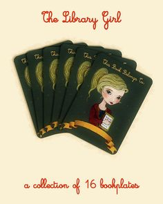 Bookplates The Library Girl by thelittlefox on Etsy