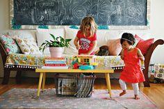 chalkboard art in the living room