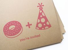 DIY Printable Donut & Party Hat Invitation Postcards / Perfect for Brunch or Birthday Party via Etsy