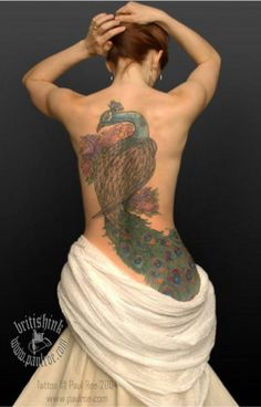 Peacock color back tattoo by Paul Roe