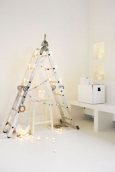 Alternative Christmas Tree. Decorate a ladder as a tree for Christmas